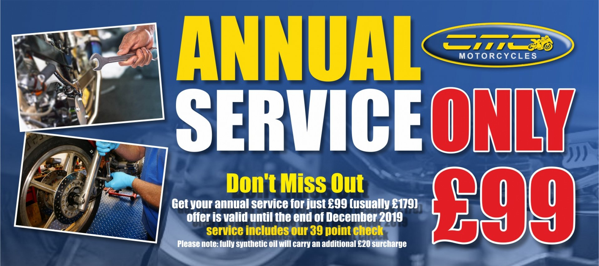 Get your annual motorcycle service for just £99. Usually £179