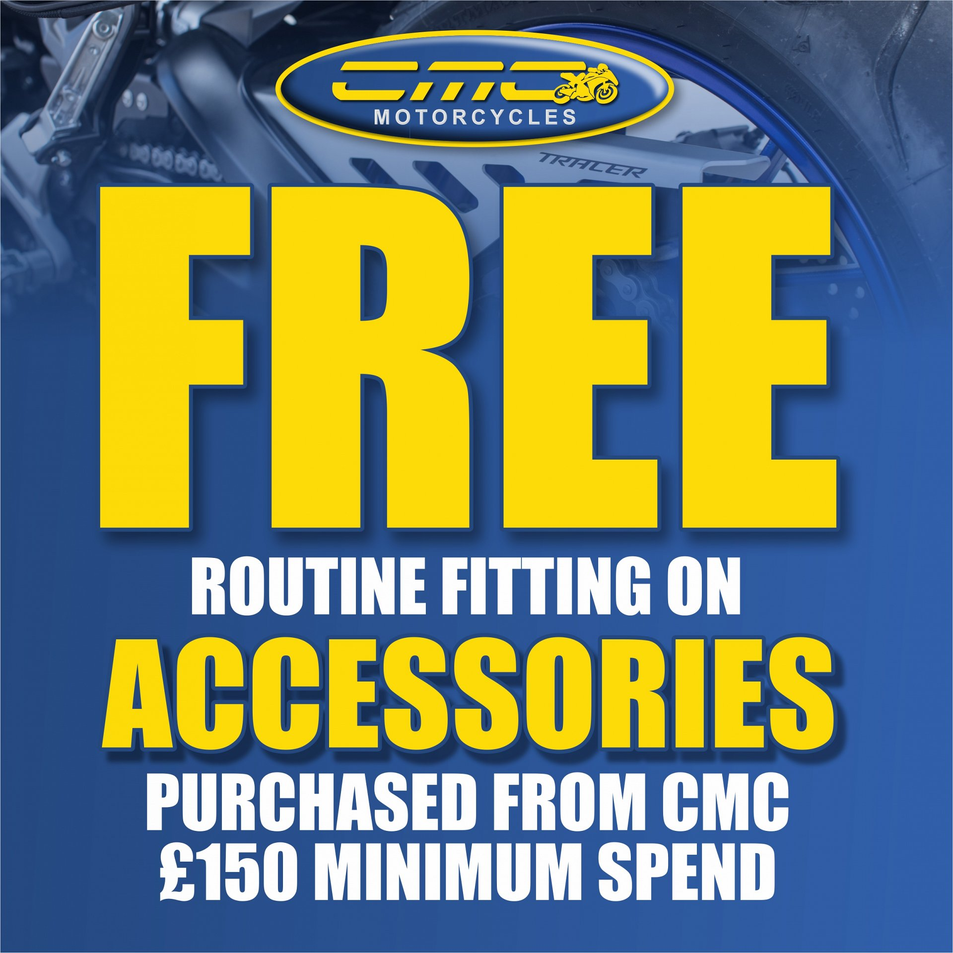 Buy any accessories over £150 and get routine fitting for free!