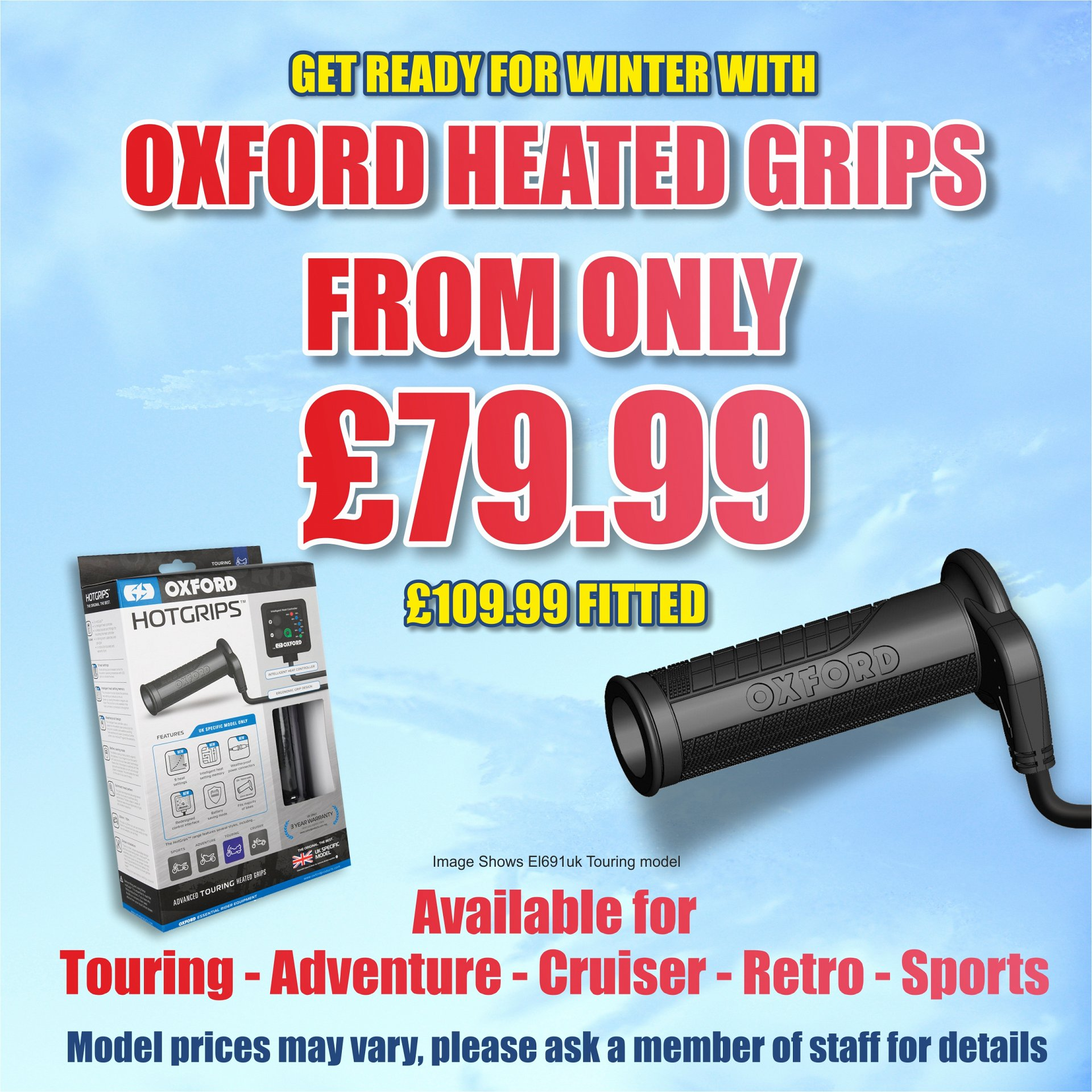 Get a set of Oxford Heated Grips and fitting for only £109.99