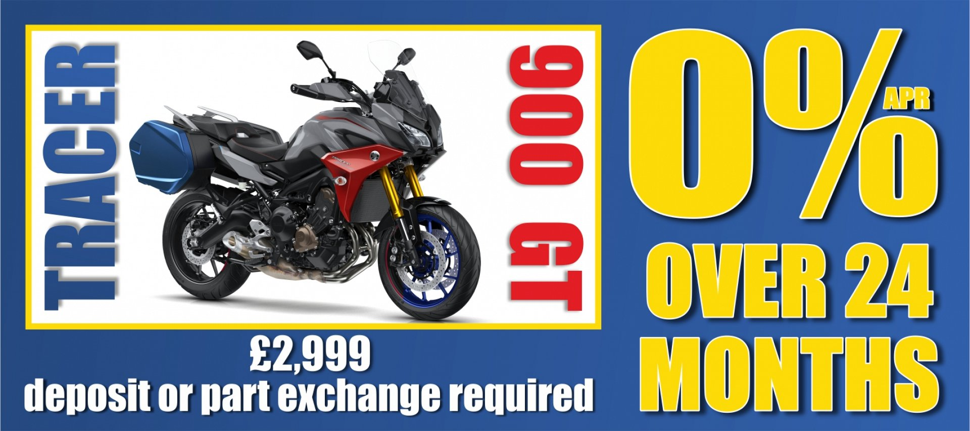 Grab the Yamaha Tracer 900 GT on 0% APR finance over 24 months.