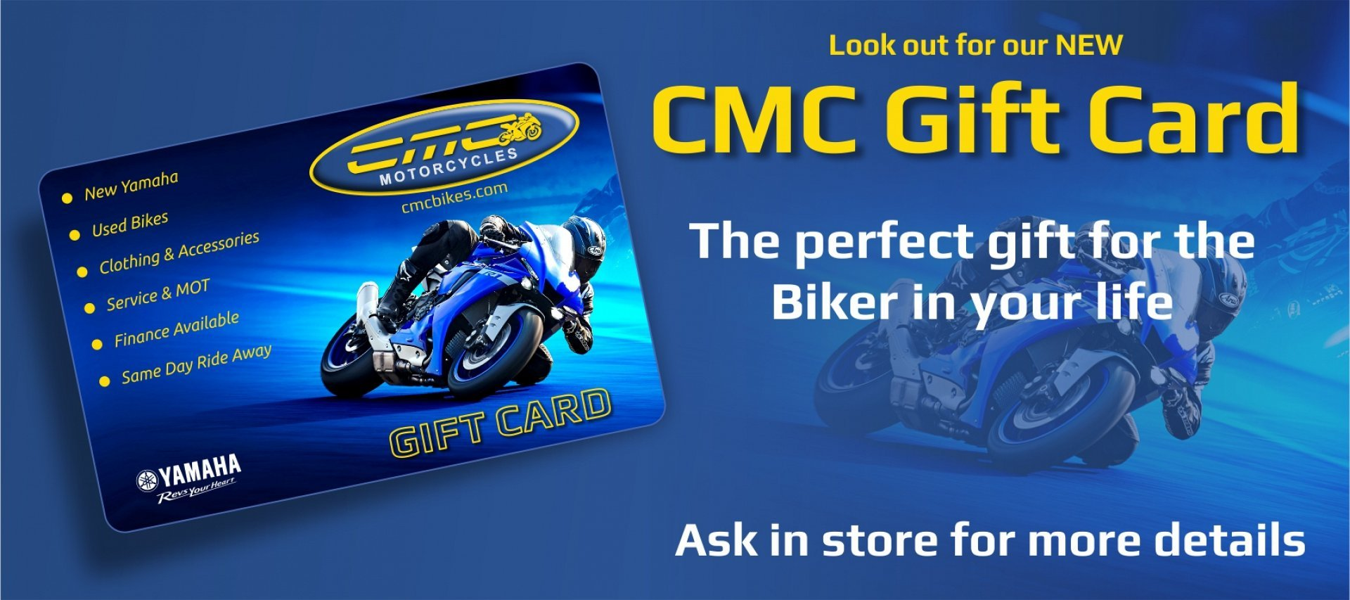 Don't know what to buy the biker in your life? CMC gift vouchers are available to purchase in store, now!
