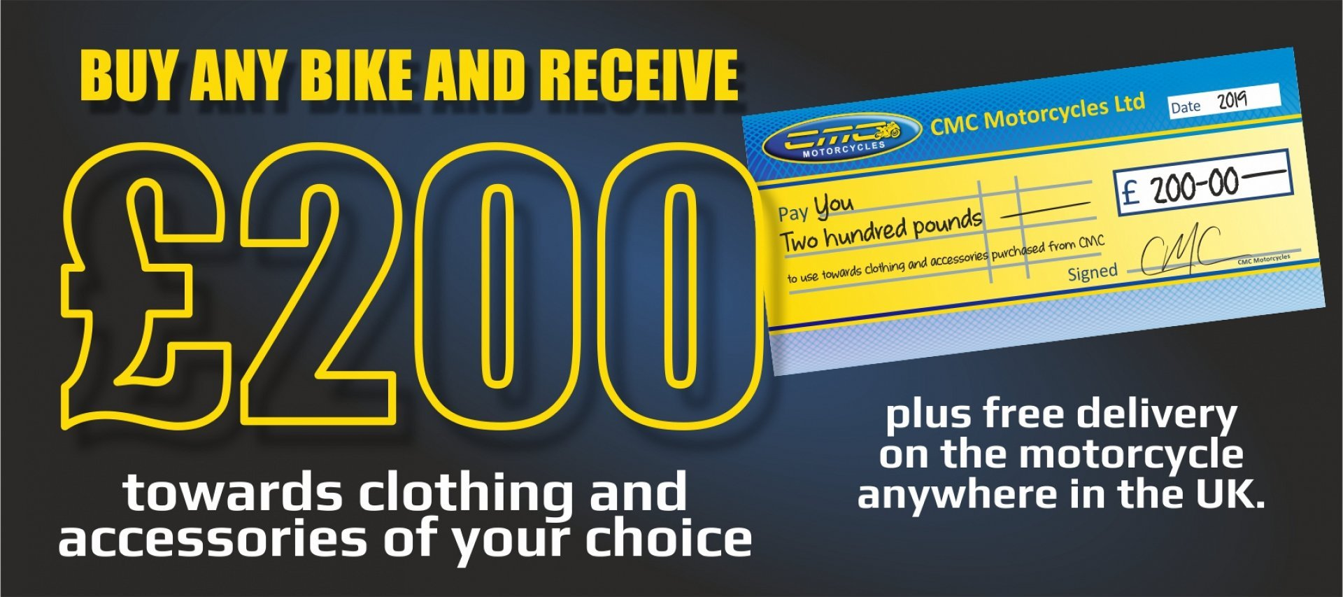 Buy a Used or New bike and get £200 to spend on Clothing and Accessories