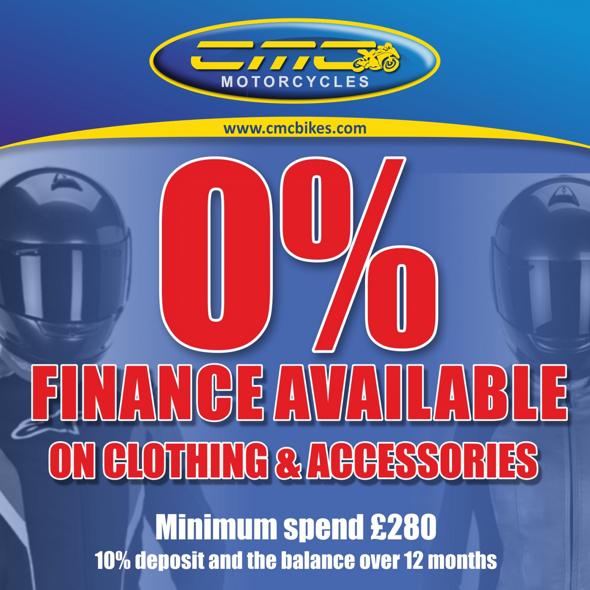 Spread the cost of your new clothing or accessories over 12 months. Available in store!