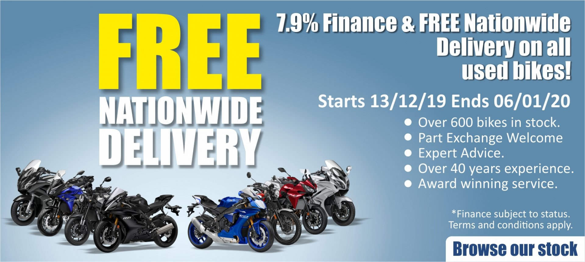 7.9% APR Finance on Used Bikes with FREE Nationwide Delivery