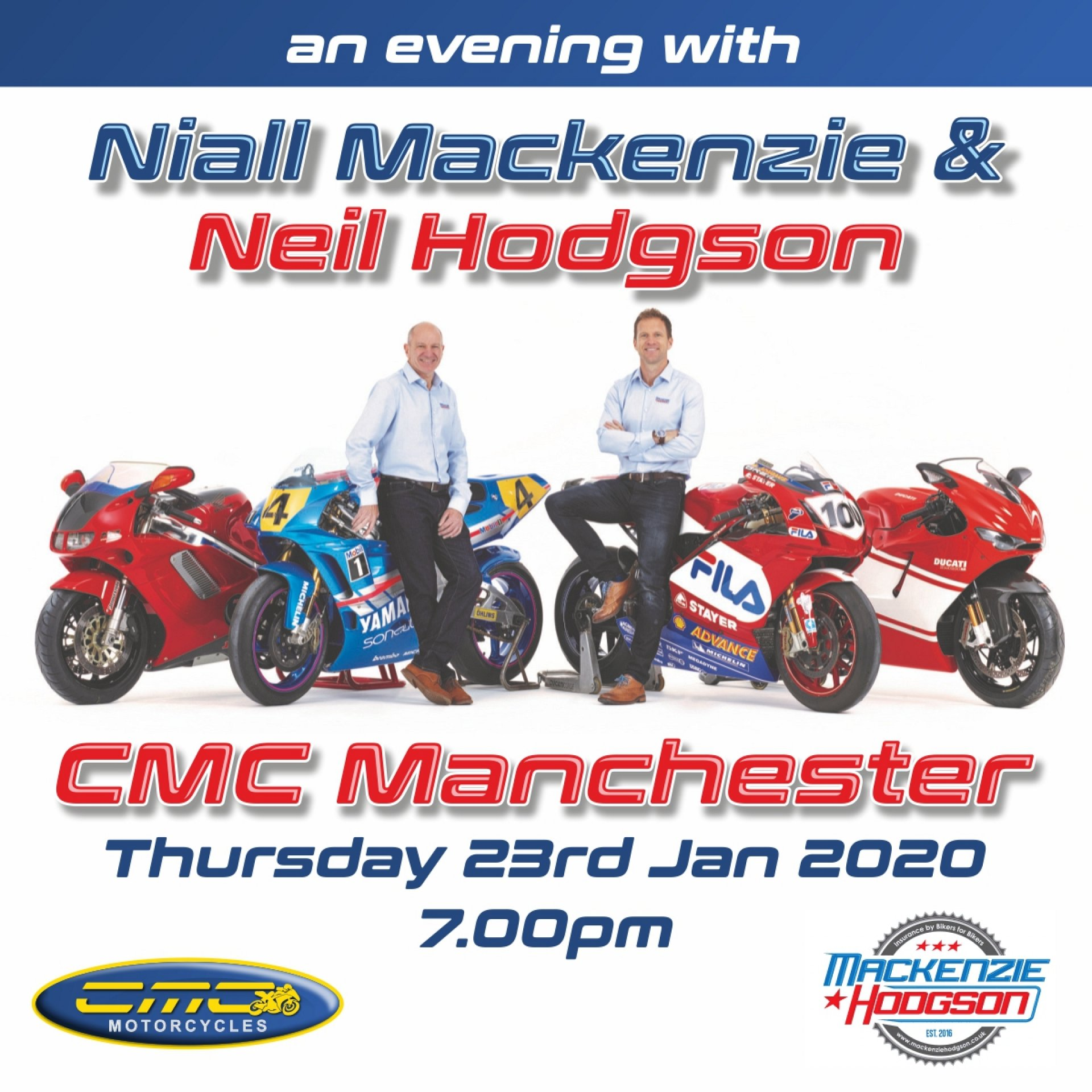 Spend an evening 2 former professional motorcycle racers.