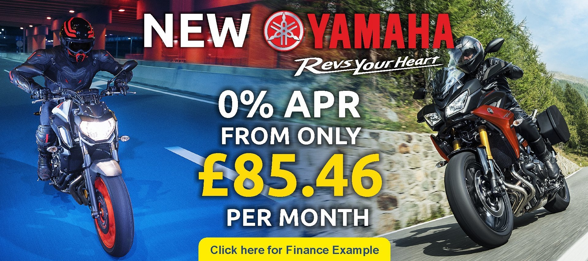 A range of new Yamaha's available from CMC bikes are on 0% from only £85.46 per month.