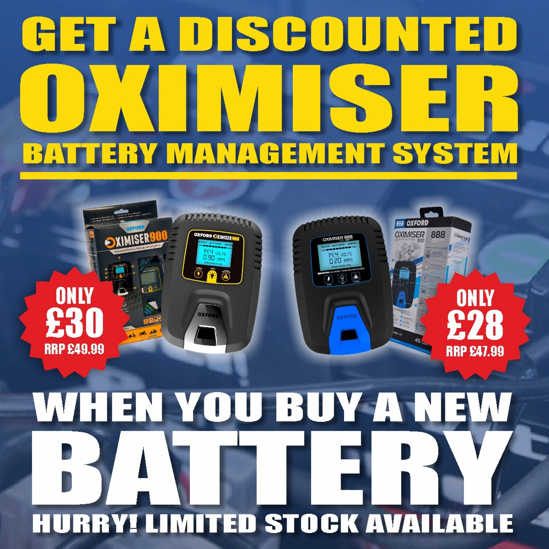 Get a discount off an Oxford battery charger when you purchase a motorcycle battery.