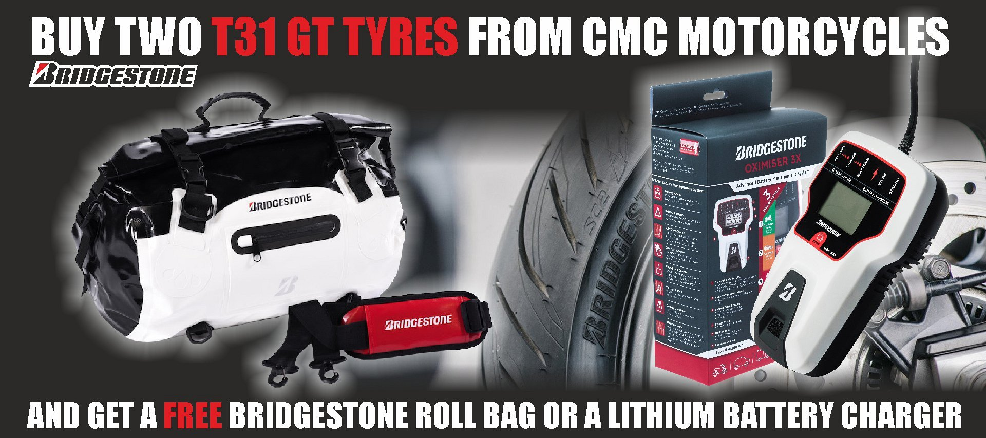 Get a Bridgestone roll bag or a lithium battery charger - FREE