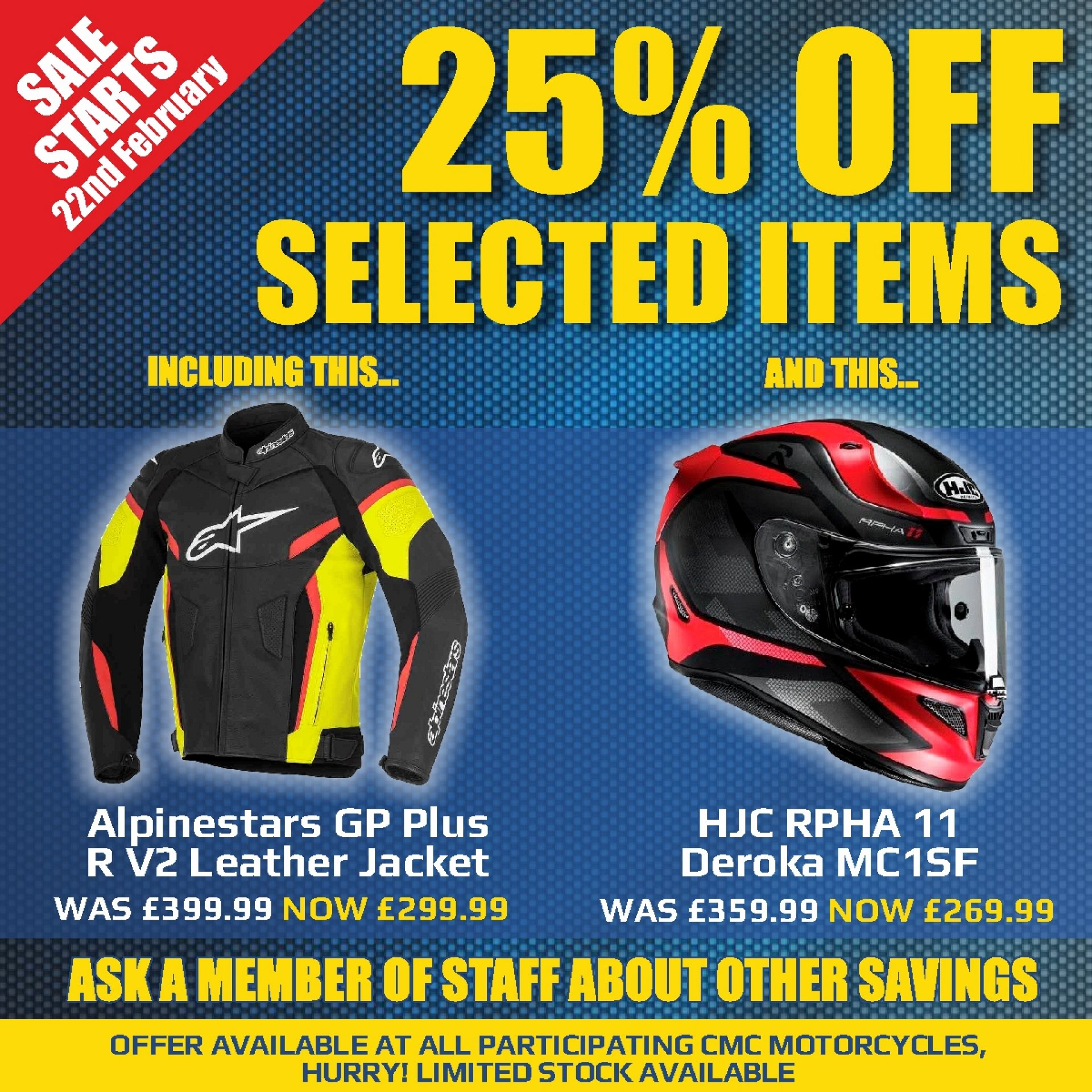 Starts this Saturday 25% off selected items
