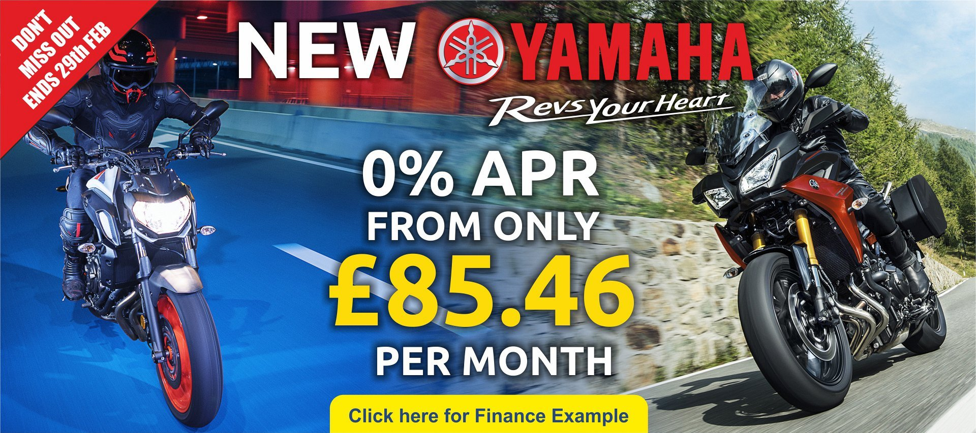 Hurry  - 0% Offer ends 29th February .   A range of new Yamaha's available from CMC bikes from only £85.46 per month.