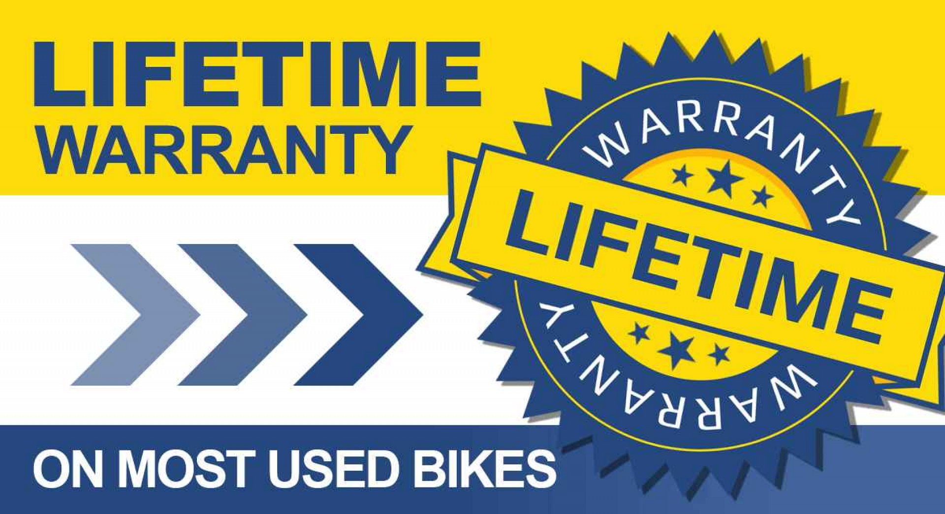 Lifetime Warranty on most Used Motorcycles